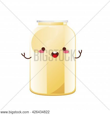 Mayonnaise Cute Character In Glass Bottle. Jar With White Sauce. Condiment Container In Cartoon Styl