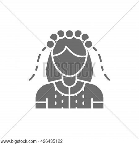 Ukrainian Woman In Traditional National Dress, Bride Gray Icon.
