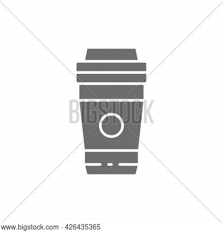 Vector Take-away Drink, Coffee, Tea Grey Icon.