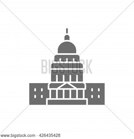 United States Capitol, Famous American Buildings Grey Icon.