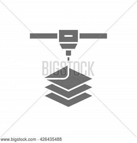 3d Printer, Printing Grey Icon. Isolated On White Background
