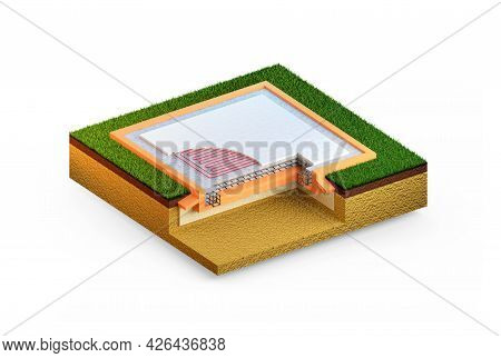 Insulated Reinforced Concrete Slab Foundation, Isolated Cg Industrial 3d Rendering