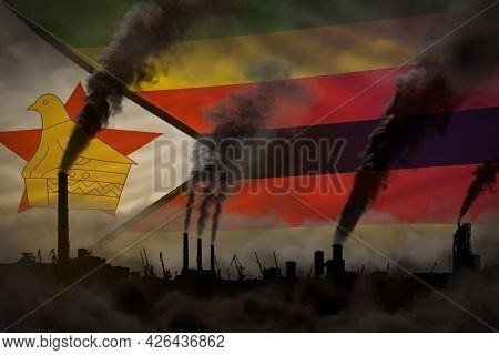 Dark Pollution, Fight Against Climate Change Concept - Industrial 3d Illustration Of Plant Pipes Hea