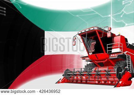 Digital Industrial 3d Illustration Of Red Advanced Rye Combine Harvester On Kuwait Flag - Agricultur