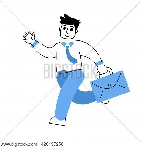 Businessman Runs With Suitcase. Outline Busy Man. Male Business Character