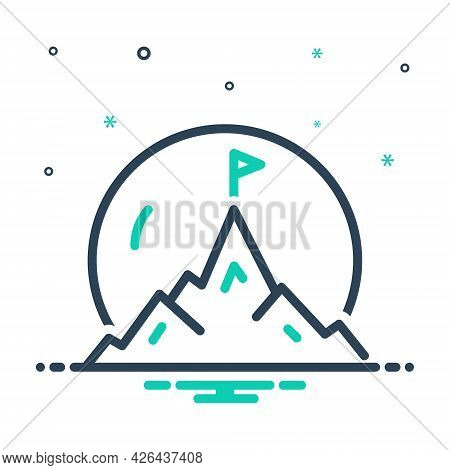 Mix Icon For Mountaintop Hill Peak Flag Victory Achievement Finished