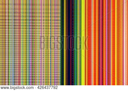 Lcd Television With Broken Screen And Colorful Stripes