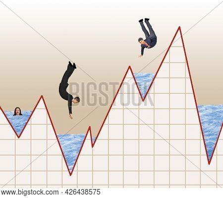 Stock Market Investors Are Seen Diving Into A Stock Market Graph In A 3-d Illustration About Timing