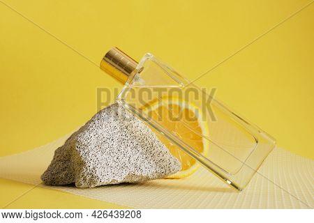 Citrus Scent, Perfume With Lemon Scent Concept, Concrete Block Fragment