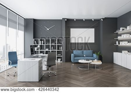 Modern Office Interior With Bright City View, Clock, Wooden Flooring, Furniture, Bookcase, Empty Whi