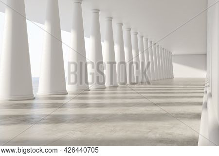 Clean White Concrete Interior With Columns And Mockup Place. 3d Rendering