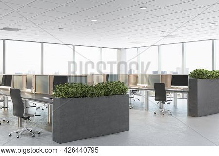 Bright Concrete Coworking Office Interior With Furniture, Window With City View And Daylight. Corpor
