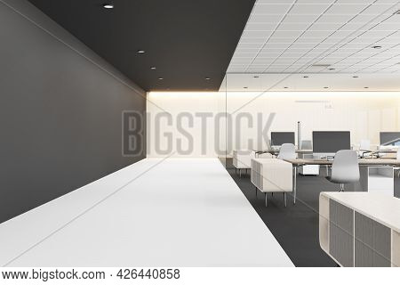 White Concrete Coworking Office Interior With Furniture, Devices And Daylight. Corporate Workplace C