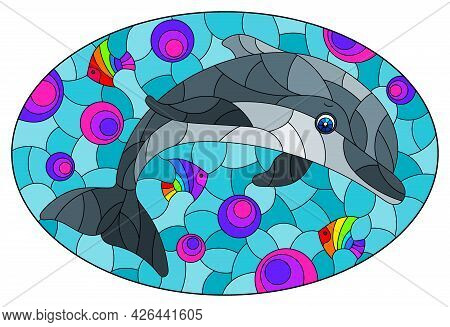 An Illustration In The Style Of A Stained Glass Window With A Cute Cartoon Dolphin On A Water Backgr