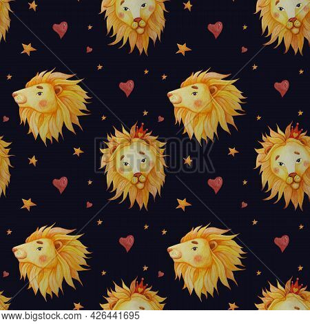 Seamless Patterns. Portrait Of Lions With Mane On Black Background With Stars And Hearts. Watercolor