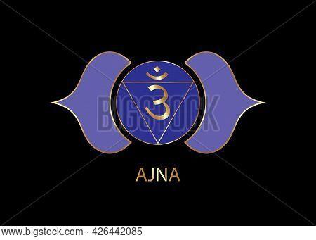 Third Eye Chakra Ajna Logo Template. The Sixth Frontal Chakra, Sacral Gold Sign Meditation, Yoga Blu