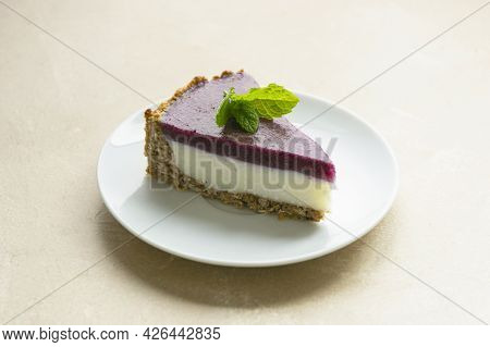 Cheesecake With Berries And Green Mint. Gluten And Sugar Free Vegan, Healthy Cheesecake.