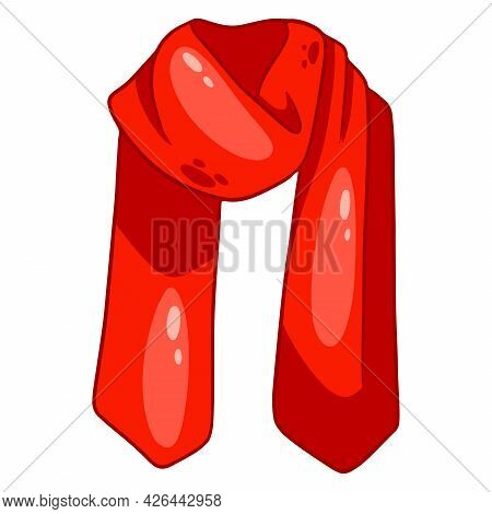 Warm Clothing. Red Scarf Protection From The Cold.