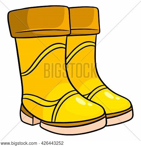 Rain Protection. Two Yellow Rubber Boots For Walking In Puddles And Mud.