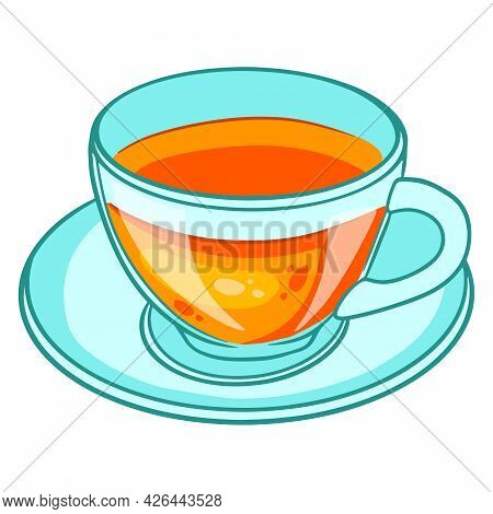 Breakfast. A Cup Of Hot Tea In A Glass Mug And On A Glass Saucer.