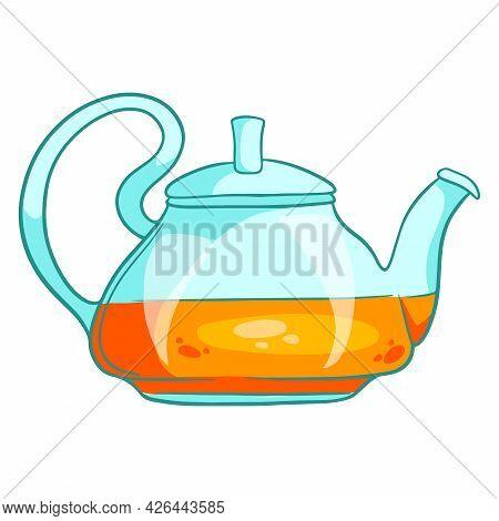 Breakfast. Herbal Hot Tea With A Glass Teapot. Cartoon Style.