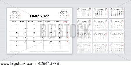 Spanish 2022 Calendar. Planner Template. Table Calender Layout With 12 Month. Vector. Week Starts Mo