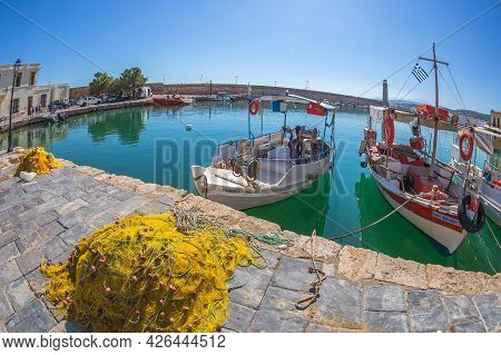 Rethymno, Crete, Greece - June 18, 2021: The Old Harbour Built By The Venetians In The 13th Century,