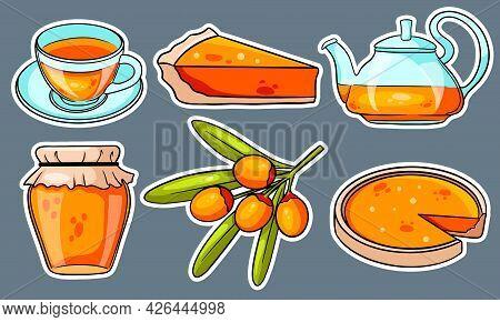 Autumn Set. Stickers. Sea Buckthorn, Hot Tea, Teapot, Mug, Pumpkin Pie, Jam.