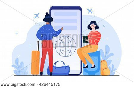 Two Female Characters Are Booking Trip On Smartphone Together. Women With Luggage Book Travel On Sma