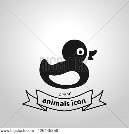 Duckling Sign. Duck Isolated Simple Vector Icon