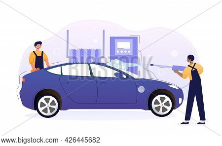 Two Young Male Characters Are Washing Exterior Of The Vehicle With Special Equipment. Concept Of Car