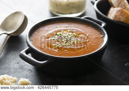 Gazpacho Soup Inblack Bowl, Delicious Cold Tomato Soup, Dark Background