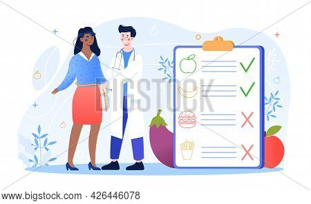 Male Nutritionist Is Consulting Patient In Clinic. Doctor Measuring Waist Of Patient. Dietician Advi
