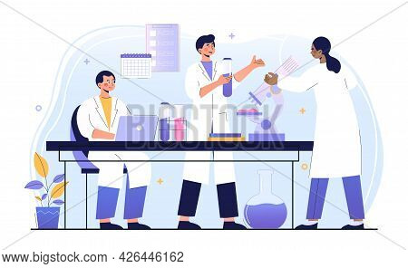 Male And Female Doctors Are Working In Laboratory Together. Concept Of Hospital, Clinic, Healthcare,