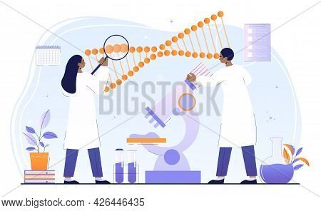 Male And Female Scientists Are Working On Genetic Modifications Together. Concept Of Medicine And Sc