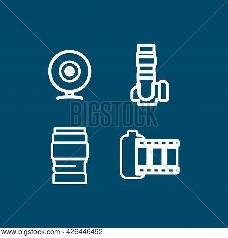 Camera Line Icon Set, Camera Lens, Camera Film, Photo Tape, Web Camera. Camera Line Icon Set, Camera