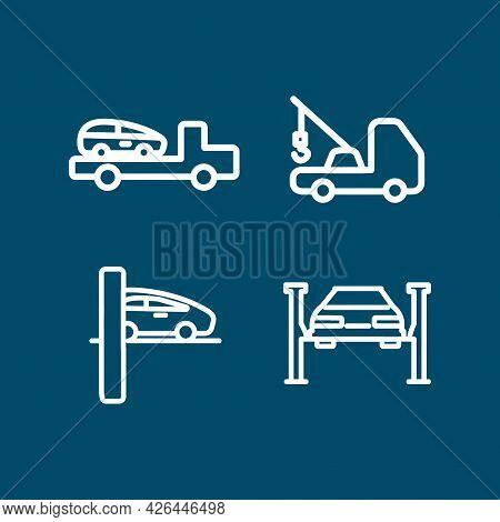 Tow Truck Line Icon Set , Broken Car. Tow Truck Line Icon Set , Broken Car.