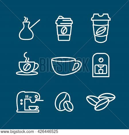 Coffee Line Icon Set, Cup, Beans. Coffee To Go, Coffee Maker, Turka. Coffee Line Icon Set, Cup, Bean