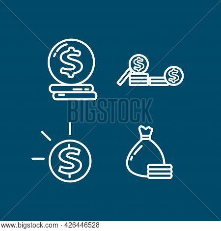 Coin Line Icon Set. Gold Coin With Coins. Coin Line Icon Set. Gold Coin With Coins.