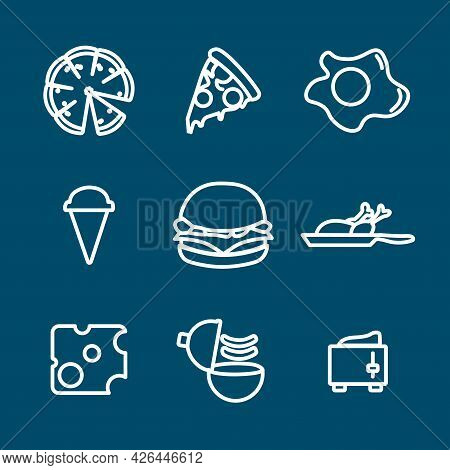 Food Line Icon Set. Meat, Hamburger, Fried Egg, Cheese, Ice-cream, Fried Chicken, Cupcake. Food Line