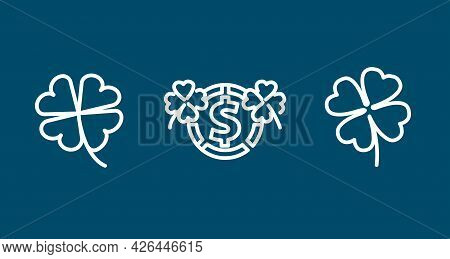 Four Leaf Clover Line Icon Set. Clover Leaf. Four Leaf Clover Line Icon Set. Clover Leaf.