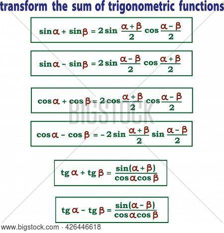 Vector Illustration Depicting Mathematical Formulas For Converting The Sum Of Trigonometric Function