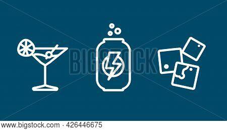 Soda Line Icon Set. Energy Drink, Cocktail, Ice Cubes. Soda Line Icon Set. Energy Drink, Cocktail, I