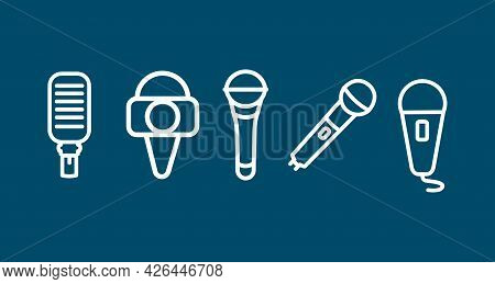 Microphone Line Icon. Press Microphone . Studio Microphone. Microphone Line Icon. Press Microphone .