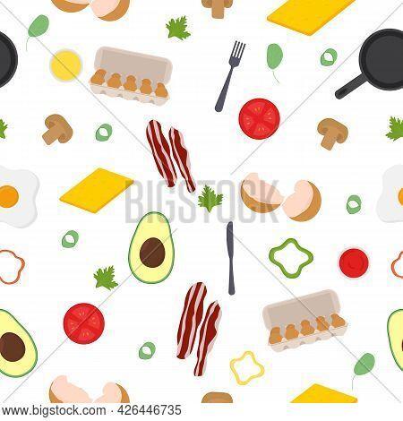 Breakfast Seamless Pattern. Eggs, Avocado, Bacon Pepper Sauce Cheese