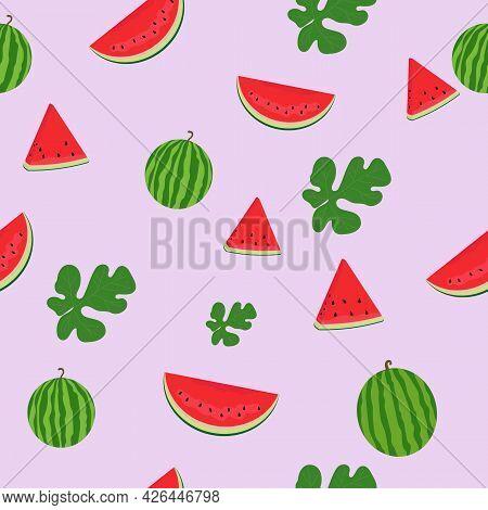 Watermelon Seamless Pattern. Watermelon Slices. Watermelon Leaves.