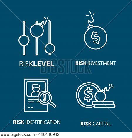 Risk Investment, Risk Business, Level Of Risk Line Icon Set. Risk Investment, Risk Business, Level O