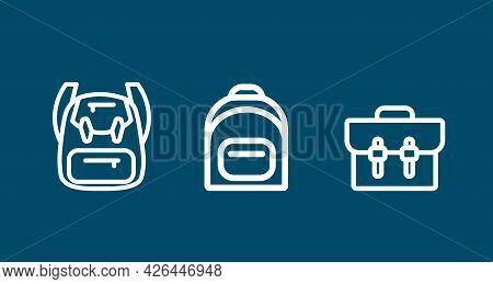 Backpack. Rucksack. Knapsack. Schoolbag. Sack Line Icon Set. Backpack. Rucksack. Knapsack. Schoolbag