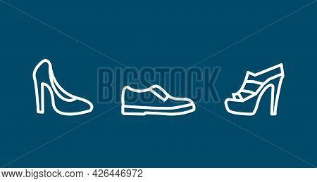 Woman Heel, Shoes Line Icon Set. Woman Heel, Shoes Line Icon Set.