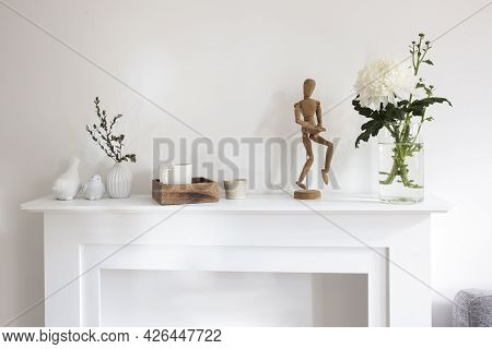 A Chrysanthemum In Transparent Vase, Cork Board With Empty Leaves, A Wooden Tray With Cup Of Coffee,